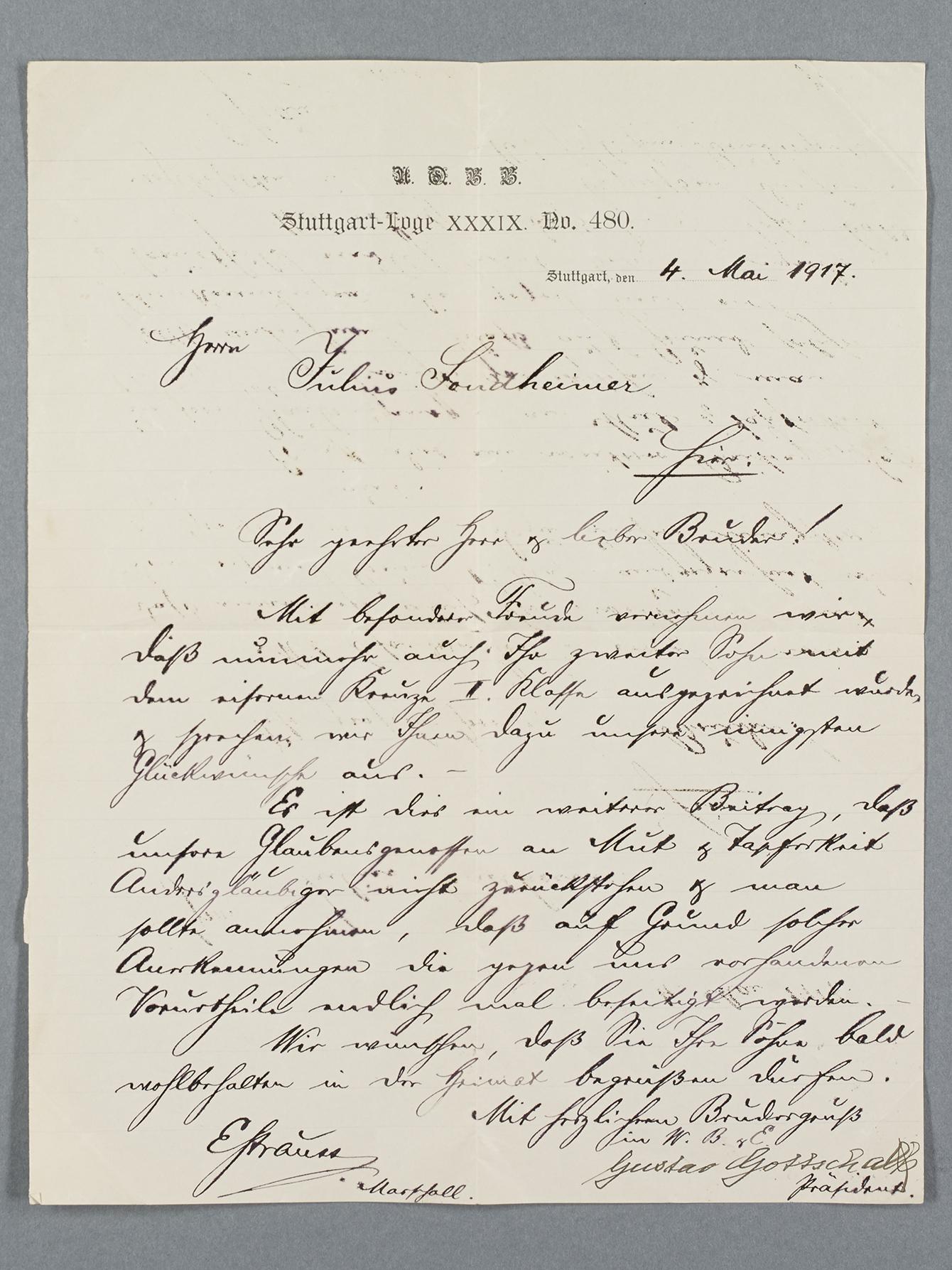 Letter to Julius Sondheimer in old German handwriting