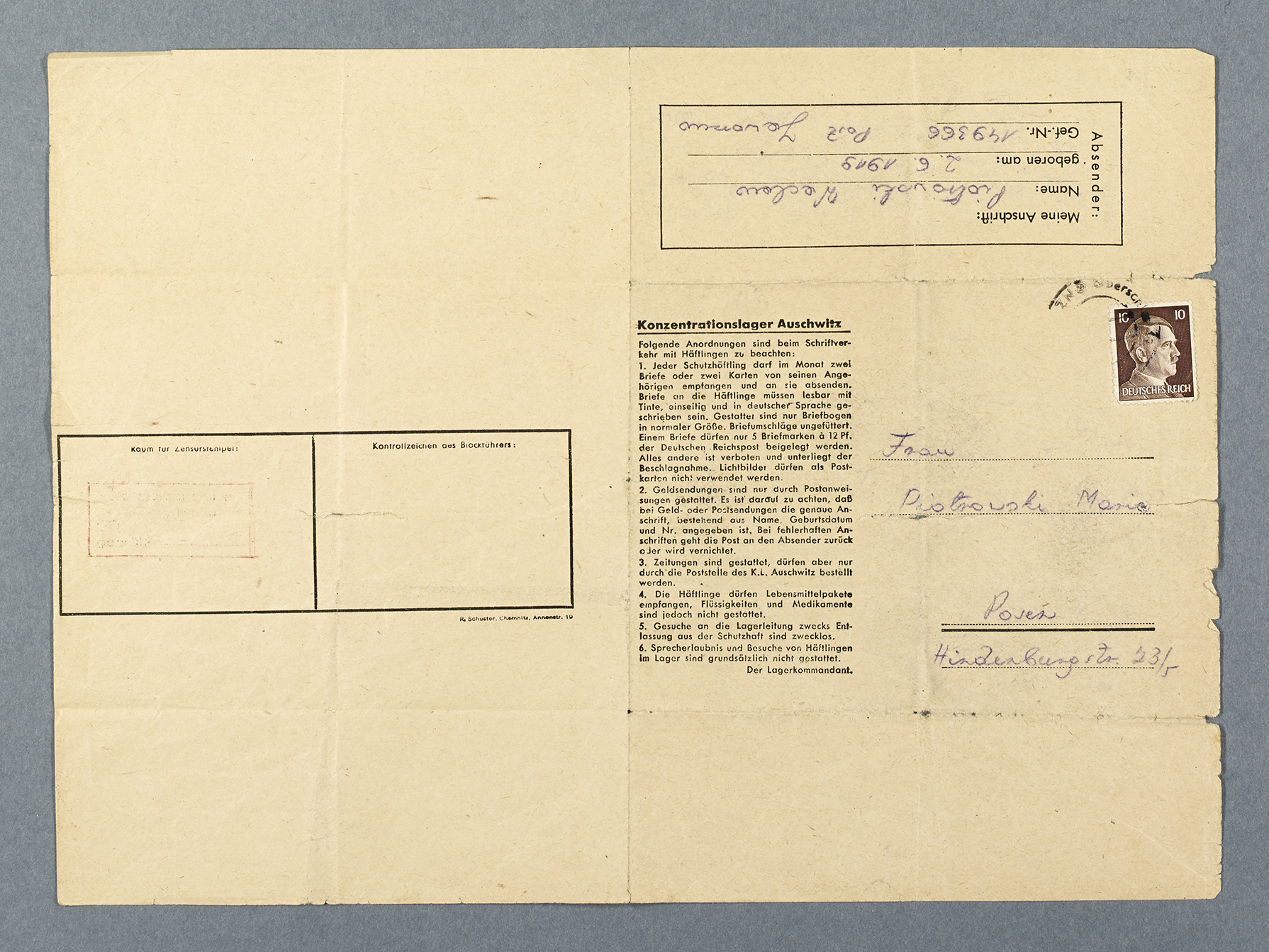 Printed form with a stamp showing Adolf Hitler and the regulations for sending and receiving post in Auschwitz