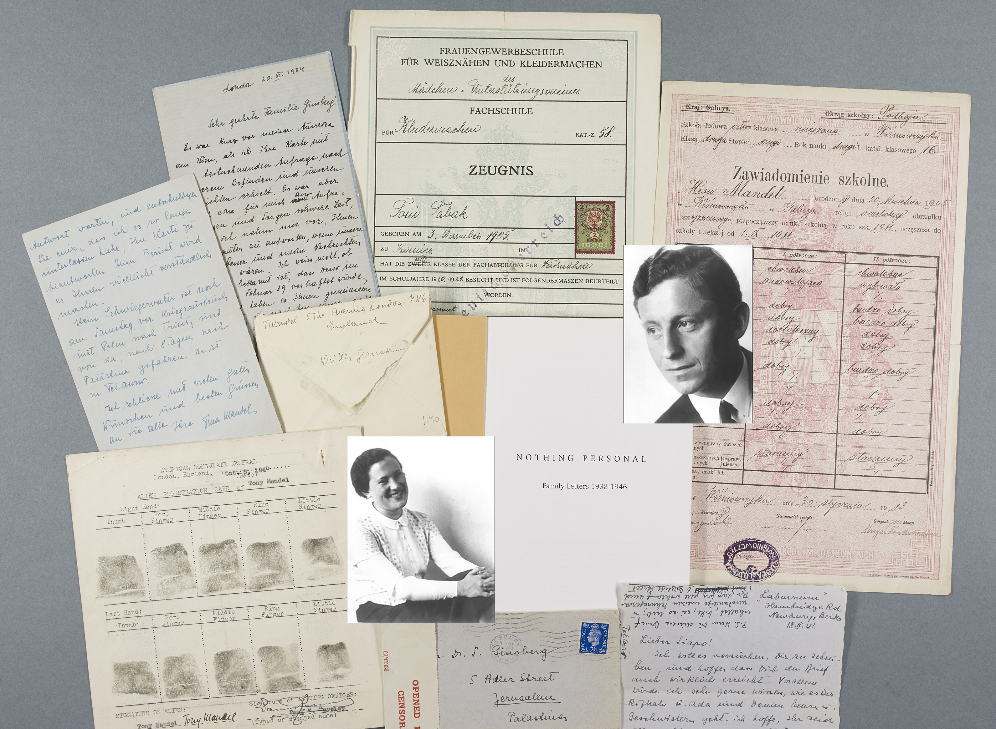 Collage of letters, photos, school reports and a finger print card