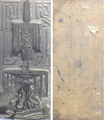 Woodblock of 'Figure and dolphin base', a garden fountain c. 1855, with 'WGM' seen on back of the block.