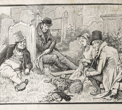 Dalziel engraving Graveyard scene, after Charles Green for Charles Dickens, 'The Old Curiosity Shop', The Household Edition (London: Chapman & Hall, [1876]). First issued in parts.