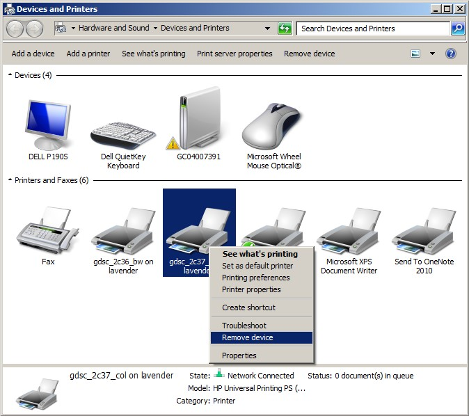 removing a printer from a windows 7 workstation gdsc printers