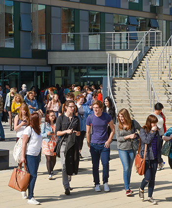Students outside Jubilee building