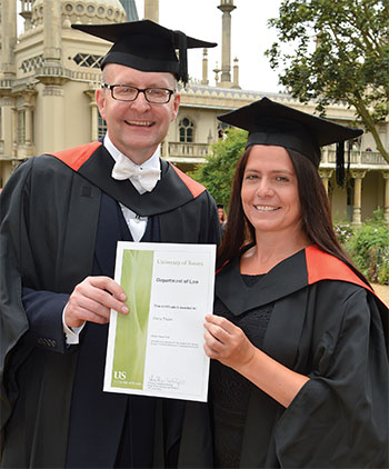 Law graduate Elena Taylor with Marcus Hayes of Mason Hayes in summer 2013