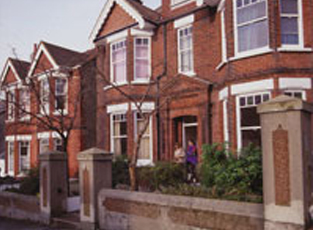 A University house on Florence Road from the front, a large two storey house with bay windows.