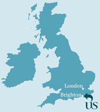 Map of the UK showing the location of Sussex next to Brighton and London