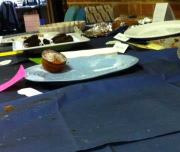 cake table at end of competition - just crumbs left