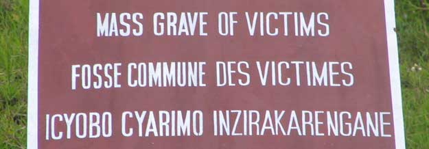 Mass grave of victims sign
