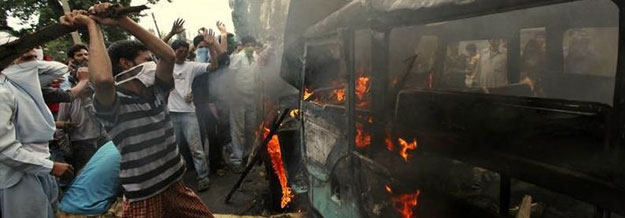 Burning bus - Conflict in Kashmir