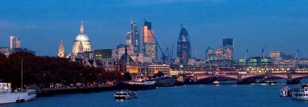 View of London across river to the City area