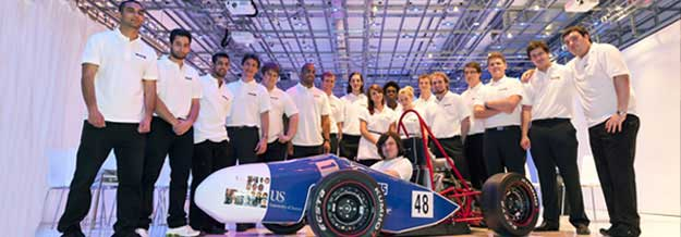 Formula students with car