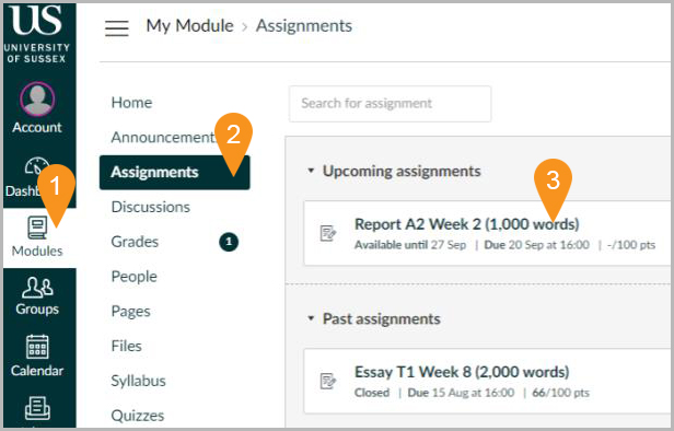 Submitting Canvas assignments : e-Submission and e-Feedback