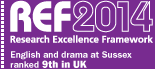 REF 2014 - Research Excellence Framework - English and Drama at Sussex ranked 9th in the UK