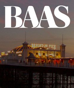 British Association for American Studies logo in white, superimposed over an image of Brighton Pier at dusk; portrait orientation