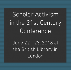 Logo for Scholar Activism conference, June 2018. White sans serif text on a black field, framed by striped teal.