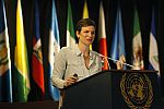 Economist Mariana Mazzucato during the lecture at ECLAC headquarters in Santiago, Chile