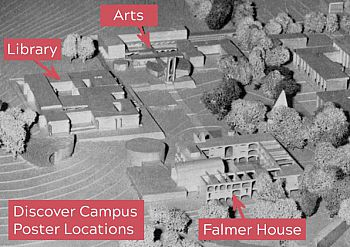 Map showing that posters can be found in the Library, the Arts complex and Falmer House