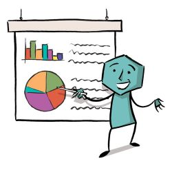 illustration figure looking at a pie chart