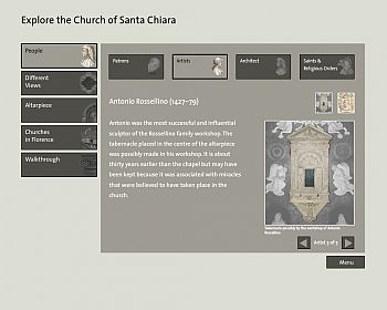 Screenshot of programme which allows users to virtually explore Santa Chiara.