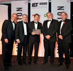 Five men, including Sussex Uni's Professor Robert Prance, receiving the IET Award.