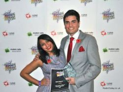 Kit Bradshaw (right) receives his award from presenter Tulip Mazumdar.