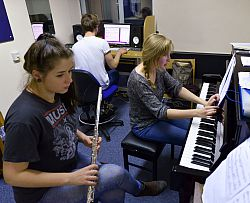 Students in a music practice room