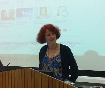Kate Murphy giving her talk on the history of the BBC's Woman's Hour on 22 May 2014