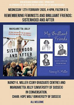 Remembering Feminists and Brilliant Friends 12 Feb 2020 poster