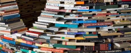 a tower of books
