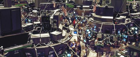 trading floor of stock exchange