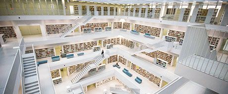 inside a large modern library