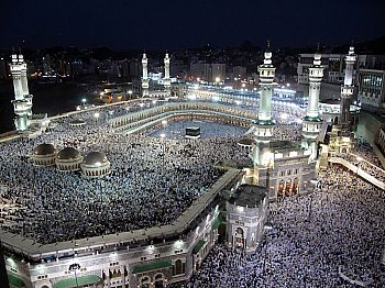Worshippers flood the Grand mosque, its roof, and all the areas around it during night prayers in Mecca