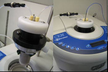 Custom microwave flow reactor for organic synthesis