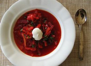 deep red soup