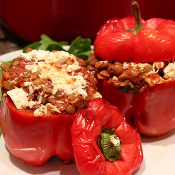 stuffed peppers with goats cheese and lentils