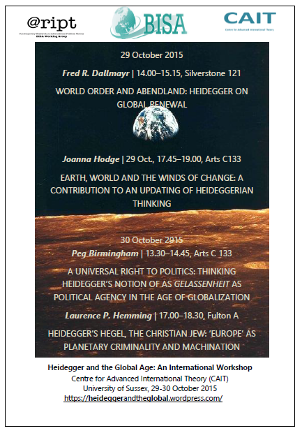 Heidegger and the Global Age Workshop - 29/10 and 30/10 - CAIT