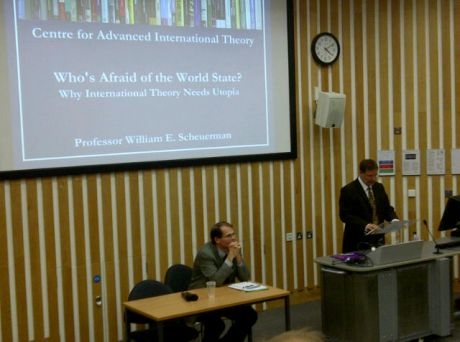 Prof. Rosenberg opening the lecture by speaking on international theory at Sussex