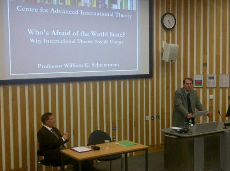 Prof. Scheuerman delivering inaugural Sussex International Theory Lecture