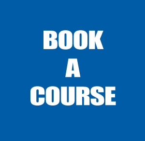 "Coloured block with the words ""book a course"""