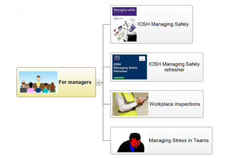 A sub-section of the HSE training mindmap focusing in on training relevant to managers
