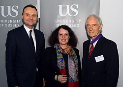 The Vice-Chancellor, Adam Tickell, Her Excellency, Sylvie Bermann, and Professor Rod Kedward