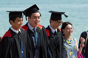 Graduates on the beach, summer 2017