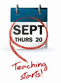 Calendar image of Thursday 20 September 2012 - teaching starts