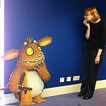 Jessica Horst meets the Gruffalo's Child at Seven Stories in Newcastle.