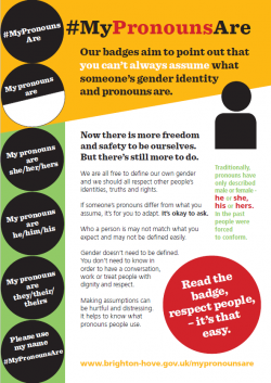 Flyer promoting the #MyPronounsAre campaign