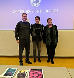 Paul Roberts, Dr Caroline Berggren and Professor Louise Morley at the University of Gothenburg
