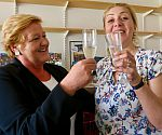First supervisor, Professor Louise Morley, toasts Tanja's success