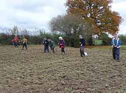 CCE volunteers sowing wildflower seed at Buckham Hill Brooks, November 2011