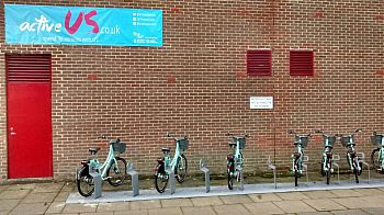 BTN Bike Share bicycles outside Sport Centre (landscape)