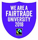 "Logo for Fairtrade status, ""We are a Fairtrade University"""